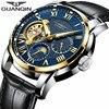 GUANQIN Brand Luxury Tourbillon Skeleton Watch Men Sport Leather Waterproof Automatic Mechanical Wristwatch Relogio Masculino