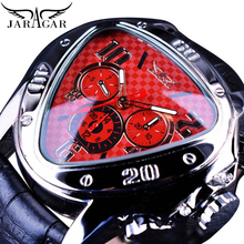 Jaragar Fashion Red Mens Automatic Mechanical Wrist Watches Triangle 3 Sub-dials Leather Racing Design reloj hombre Dropshipping