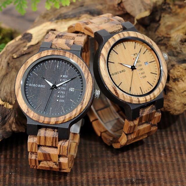 BOBO PÁSSARO LO26-1-2 Homens Relógios De Pulso Movimento de Quartzo Calendário Completo Relógio Exposição da Semana de Moda Erkek Kol Saati