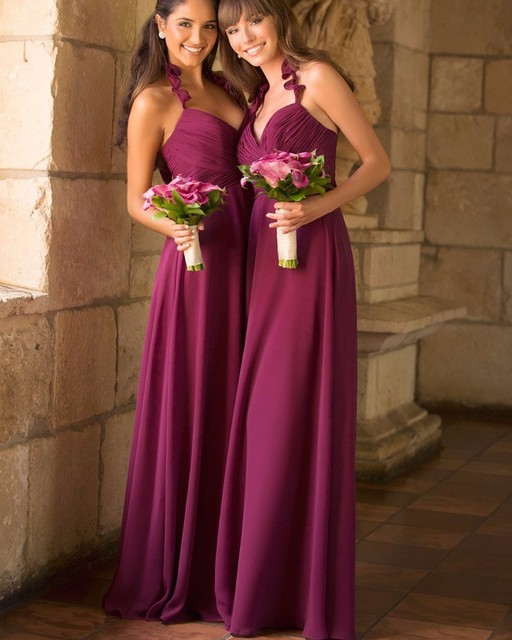 Y Spaghetti Halter Violet Bridesmaid Dresses 2016 A Line Chiffon Ruched Wedding Guest Gown Backless