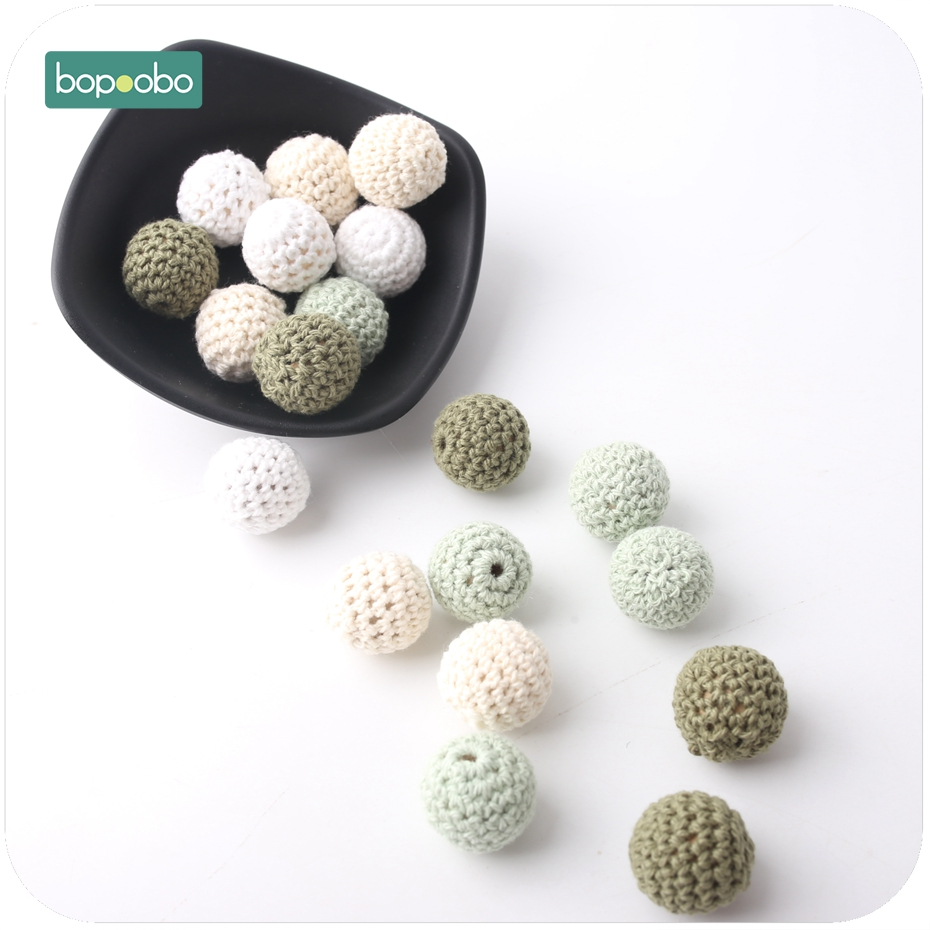 Bopoobo Baby Nursing Jewelry Accessories Crochet Beads 20mm 10pc Colorful Crochet Can Chew DIY Teether Bracelet Crochet Beads