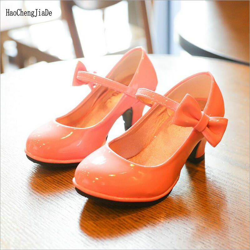 2019 Summer kids Princess shoes High heeled PU leather sandlas children casual shoes bow party dance performance shoes Leather Shoes     - title=