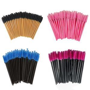 Image 1 - 50 pièces pinceaux à cils pinceaux de maquillage jetables Mascara baguettes applicateur multi couleurs cils cosmétiques pinceau outils de maquillage