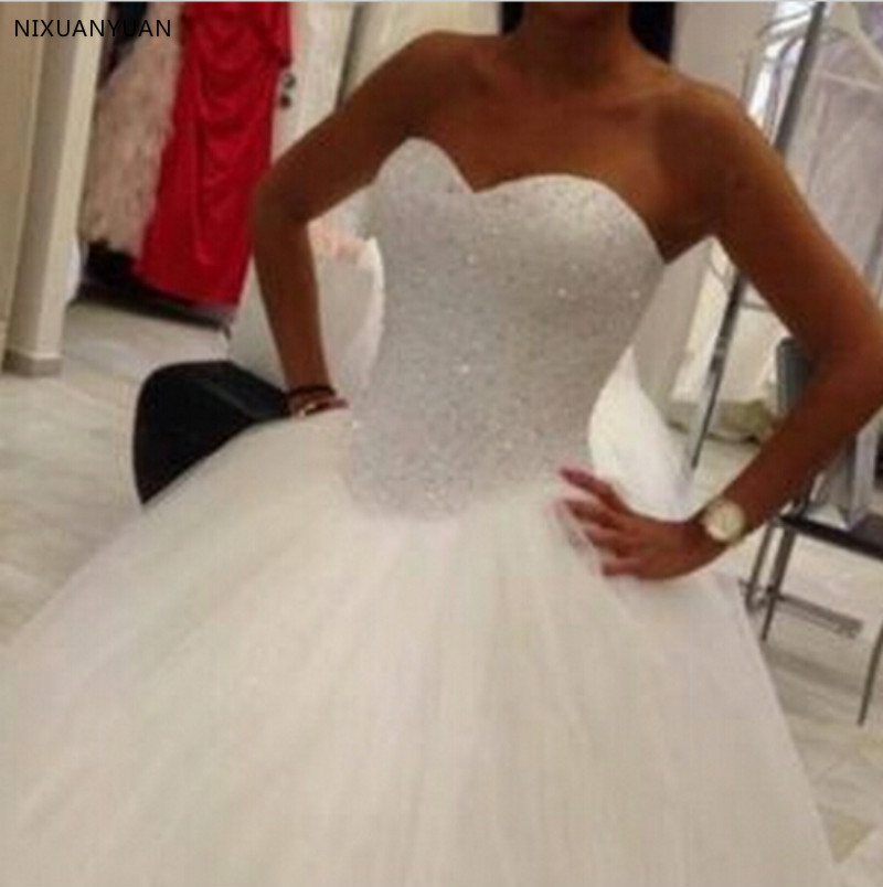 Hot Sale 2020 Wedding Dress Beading Vestido De Noiva Lace-up Back Robe De Mariage White Bridal Gowns