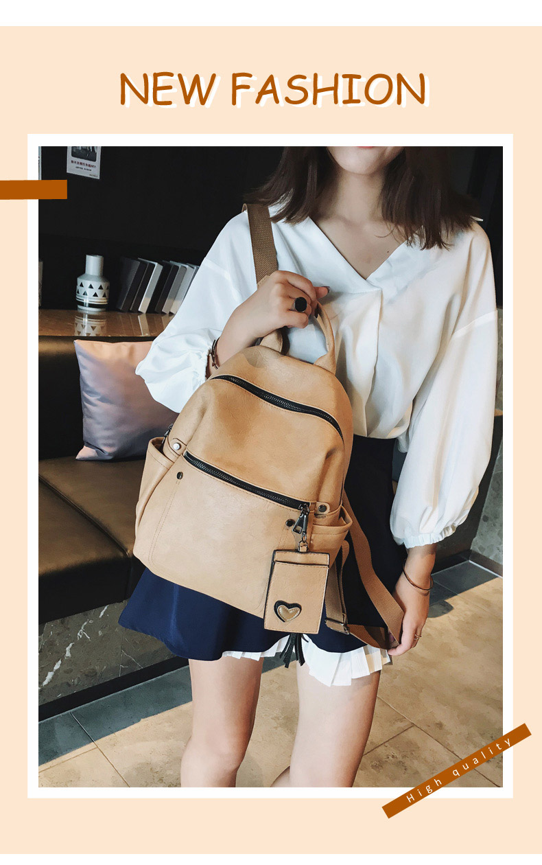 Women Leather Backpack Teenage Girls School Bag Female Vintage Large Solid Soft Backpacks Mochila Black Back Pack Bags New XA86H