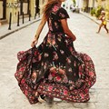 ZANZEA Women Boho Maxi Long Dress 2016 Ladies Sexy Deep V-neck Long Sleeve Floral Print Split Casual Vintage Long Robe Vestidos