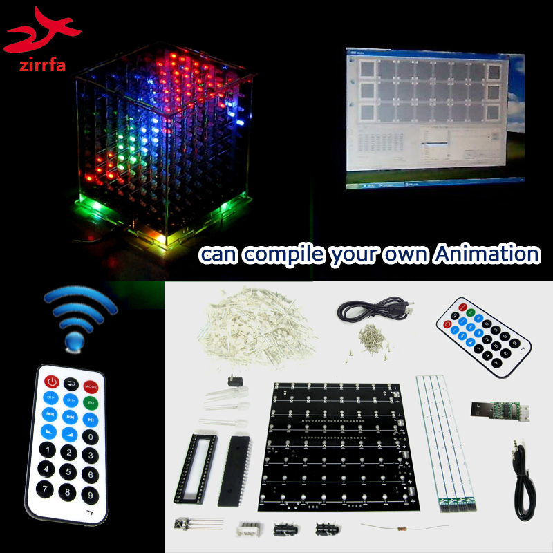 3D 8 multicolor mini light cubeeds with Excellent animation / 8x8x8 with demo pc software LED Music Spectrum,electronic diy kit image
