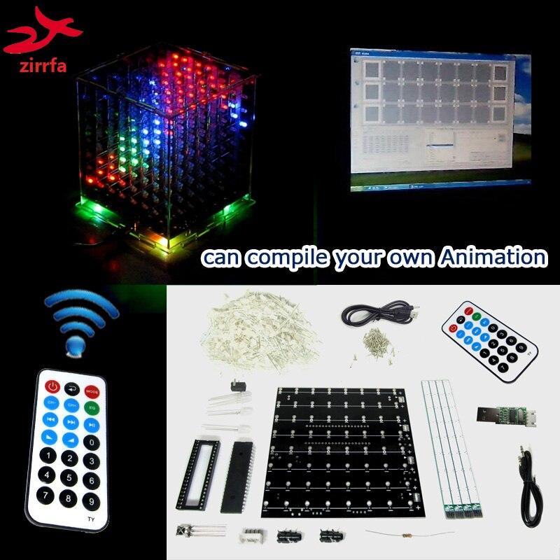 3D 8 Multicolor Mini Licht Cubeeds Met Uitstekende Animatie/8x8x8 Met Demo Pc Software LED Muziek Spectrum, Elektronische Diy Kit
