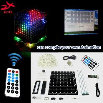 Mini cubeeds de luz multicolor 3D 8 con excelente animación/8x8x8 con software de demostración LED de espectro musical, kit de bricolaje electrónico