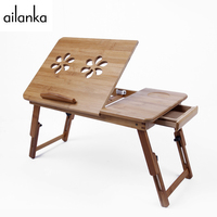 Foldable Laminating Portable Adjustable Classical Bamboo Wood Computer Stand Laptop Desk With Double Cooler For Notebook On Bed