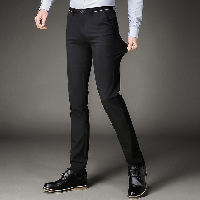 Suit Pants Mens Black Slim Fit Dress Office Trousers Men Size Business Clic S
