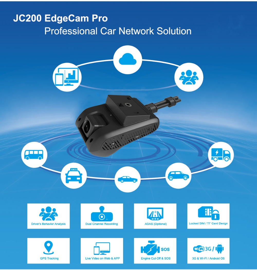 Newly JC200 EdgeCam Pro 3G Car DVR Dash Camra Car Camera With HD 1080P Dual  Camera GPS Tracker Remote Monitoring Live Streaming