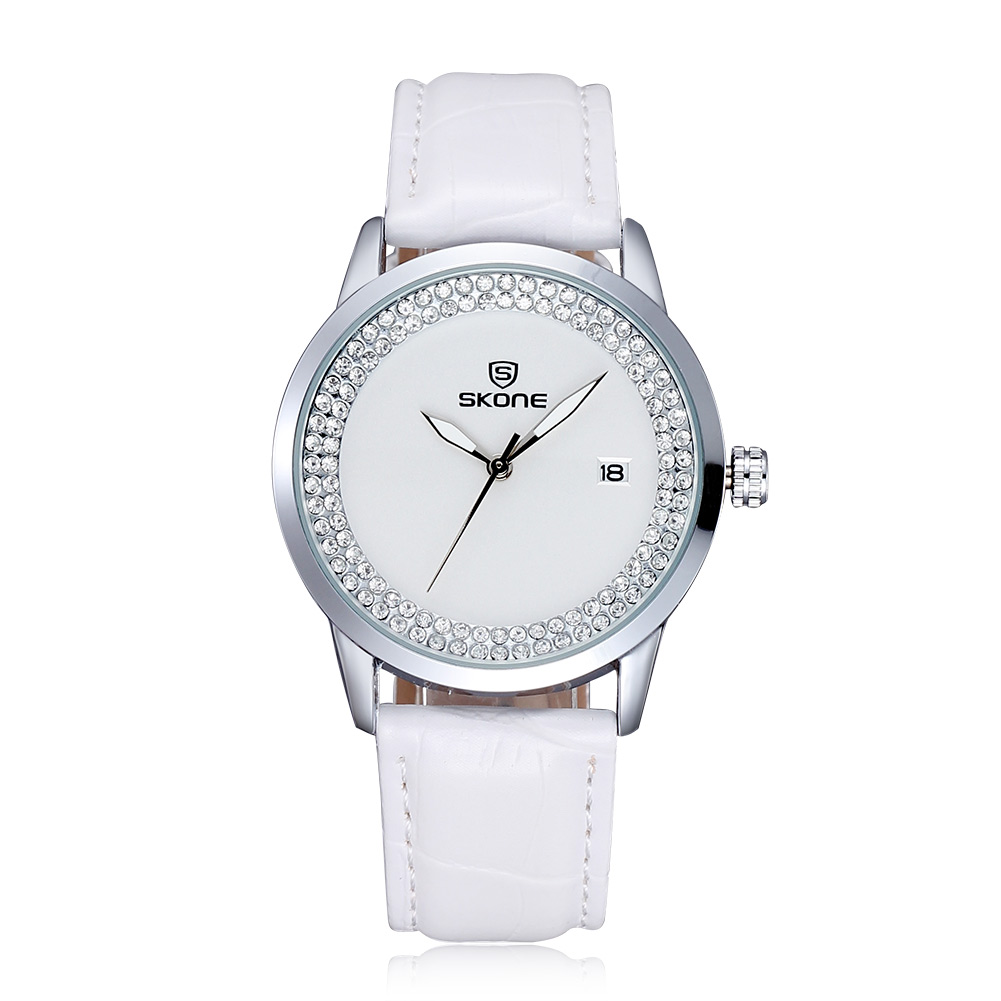 Skone Diamond Simple Fashion Women Watches  Saat Quartz Shockproof Watch Wen And  Leather Strap  Clock Women Relogio Feminino skone fashion simple watches for women lady quartz wristwatch stainless steel band watch for woman relogio femininos