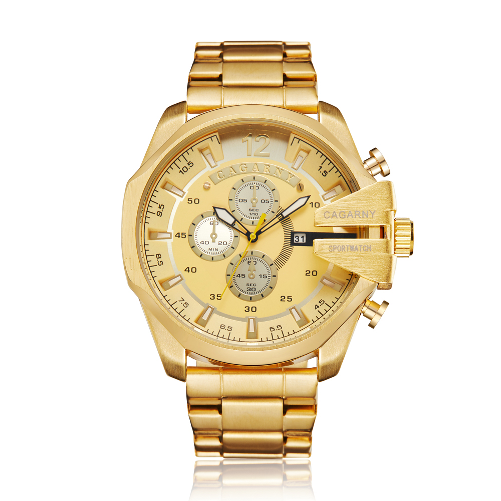 top luxury brand cagarny quartz watch for men gold steel band waterproof dz military Relogio Masculino mens watches drop shipping clock man cheap price (38)