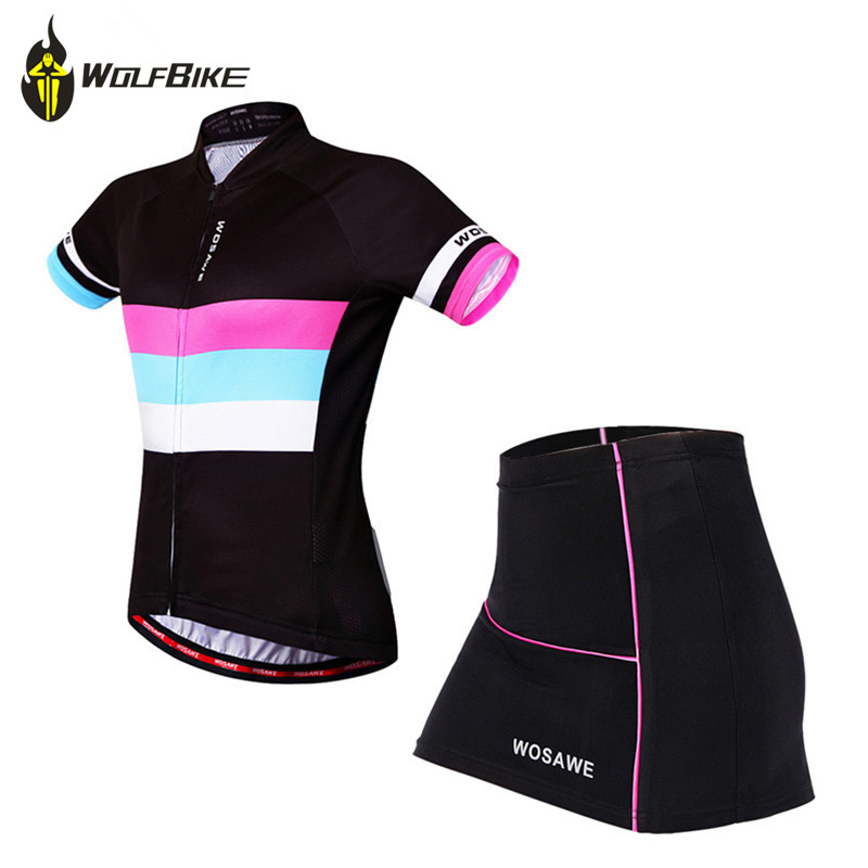 WOSAWE Summer Female Mini Skirt + Shirt Ropa Ciclismo Cycling Jersey Sets Breathable MTB Bike Clothing Short sleeve clothes