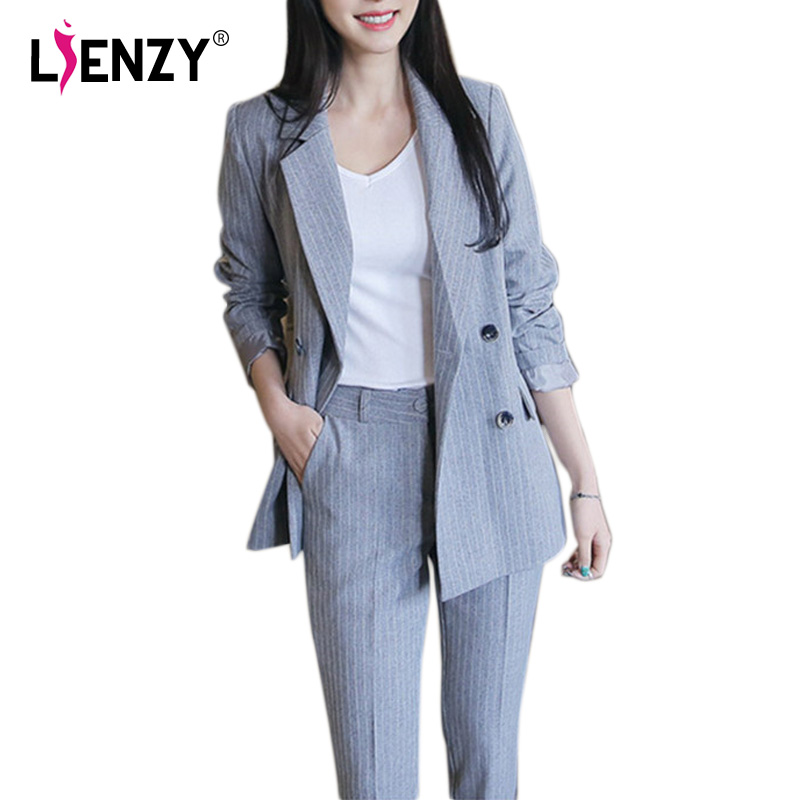 Stylish Gray Stripes Womens Suit Double Breasted Blazer + Ankle Wide Leg Pant Office 2pc ...