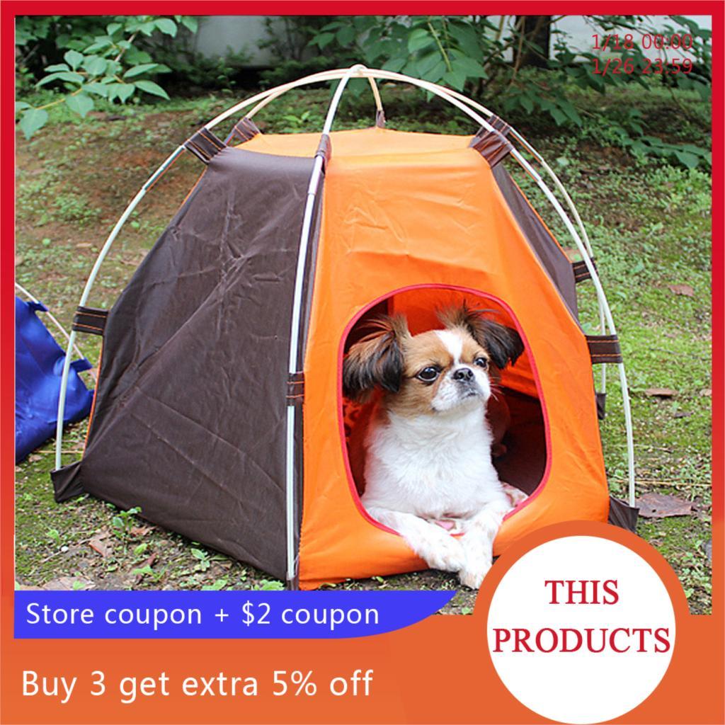 Hoomall 1PC猫犬の家ポータブル折り畳み式かわいいドットペットテント屋外屋内用テント子猫猫小型犬子犬犬小屋テントконура
