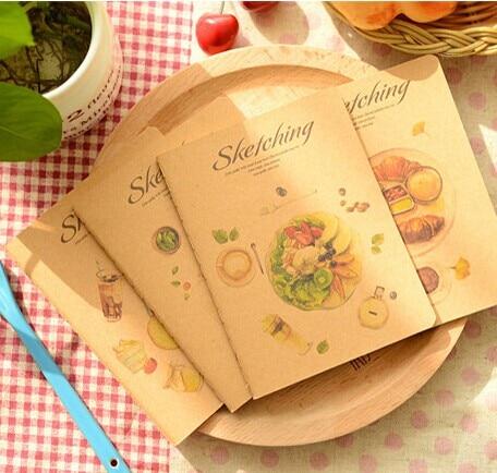 MIRUI Retro Sketch Cowhide A6 Car Line Notebook Sketching Delicious Fruit Meal Notebook