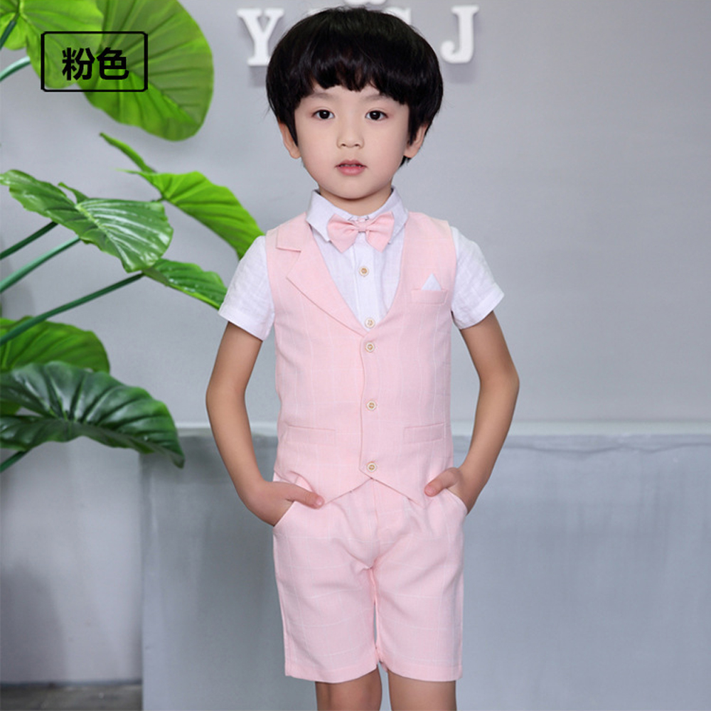 6f4f45f24 4 Pieces Boys Summer Wedding Leisure Suit Vest Shirt Short with ...