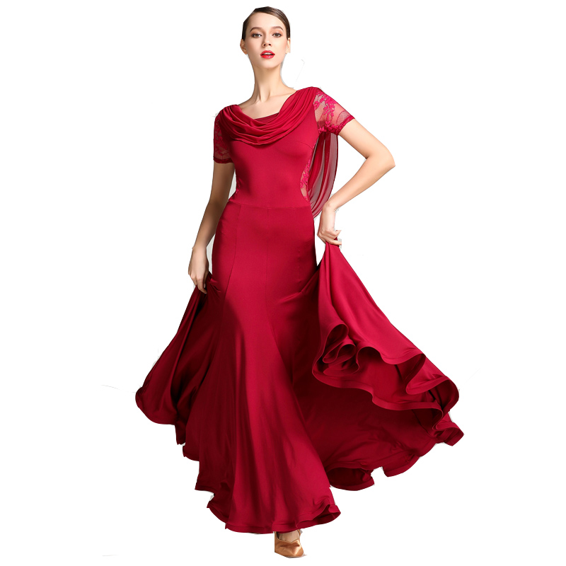 Waltz Dress Rumba Standard Smooth Dance Dresses Standard Ballroom Dance Competition Dress Red Wine Red Blue Black S9019
