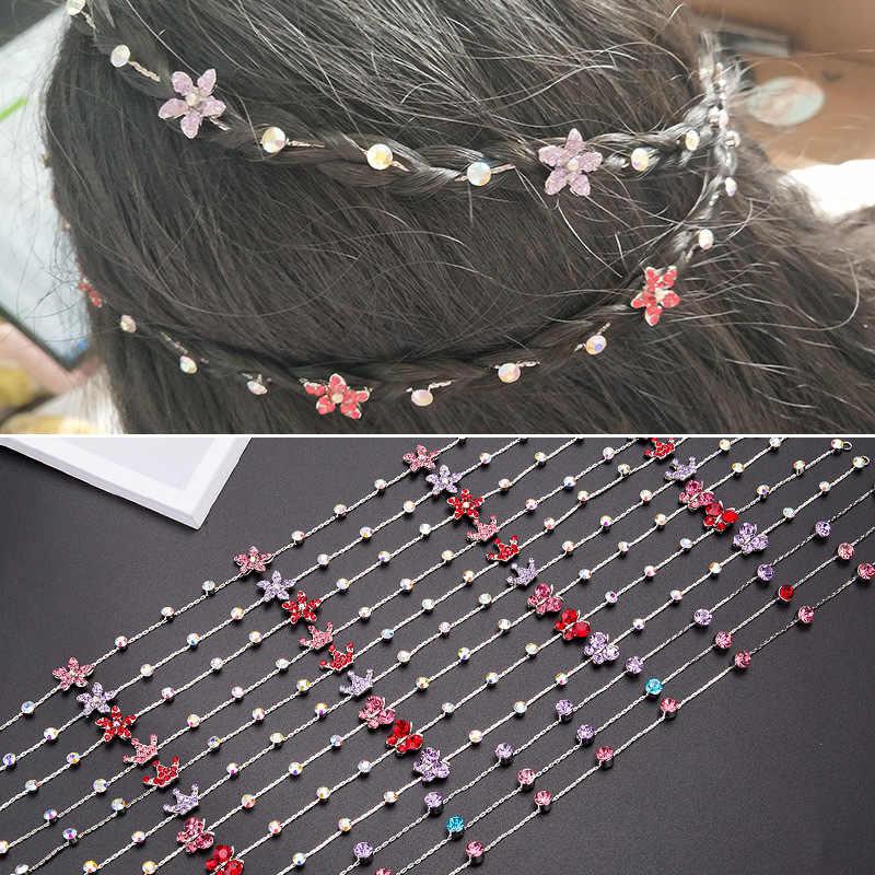 Новинка 2018, цветная цепочка для волос в форме цветка, короны, бабочки, для детей, аксессуары для волос