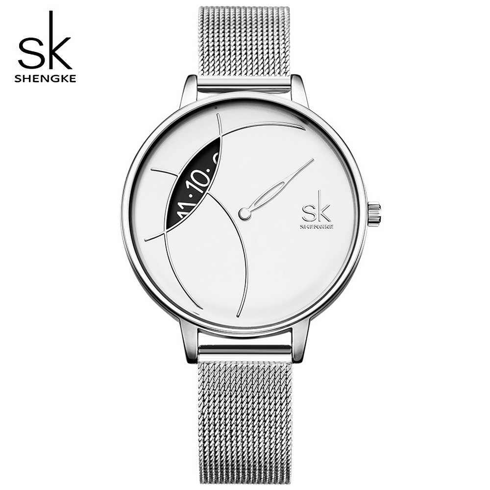 SK Sliver Super Slim Mesh Stainless Steel Watches Women Shengke Top Brand Luxury Casual Clock Ladies WristWatch Relogio Feminino sk super slim sliver mesh stainless steel watches women top brand luxury casual clock ladies wrist watch lady relogio feminino