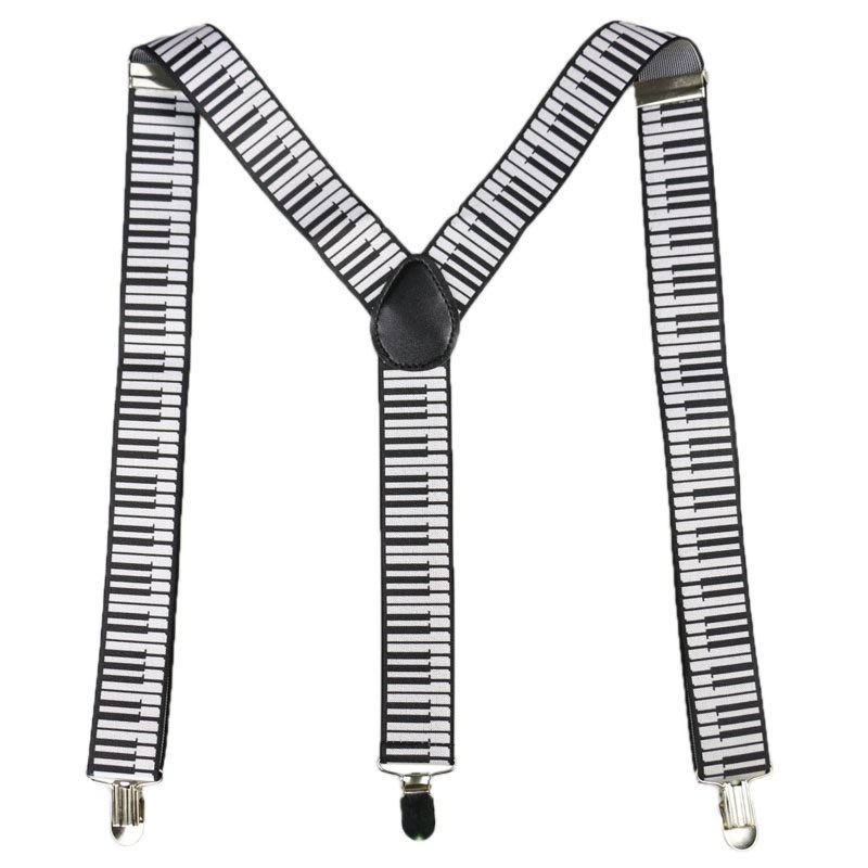 Winfox Fashion Black White 3.5cm Wide Women Men Suspenders Musical Notes Keyboard Suspenders Braces