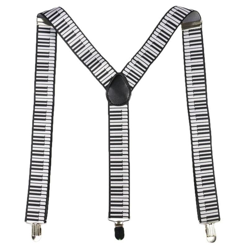 Winfox Fashion Black White 3.5cm Wide Women Men Suspenders Musical Notes Keyboard Suspenders Braces