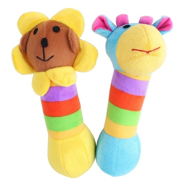 2016 Dog Plush Sound Toys Juguetes Rattles Family Pet Plush Sound Rainbow Deer / Sunflower 88 YH-17