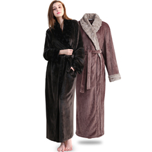 Women Men Elegant fur Thickening Flannel Extra Long Thermal Bathrobe Winter Kimono Warm Bath Robe Dressing Gown Plus Size Robes cheap COZEDRESING Solid Ankle-Length Full Coral Fleece Women and Men Soft fur Thermal Long Robes Polyester