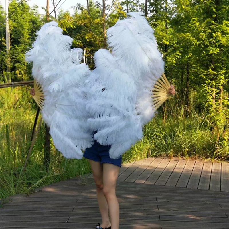 1 PC Big Ostrich Feathers Fan With Bamboo Ribs for Belly Dance Halloween Party Ornament Decor