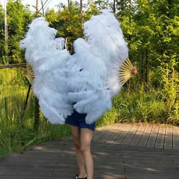 1 PC Big Ostrich Feathers Fan With Bamboo Ribs for Belly Dance Halloween Party Ornament Decor Necessary 10/11/12/13/14 Ribs Fan - DISCOUNT ITEM  40% OFF All Category