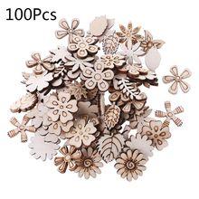 100 шт лазерная резка деревянные цветы и листья украшения деревянная форма ремесло Свадебный декор