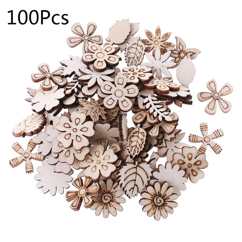 100pcs Cut Wood Flowers And Leaves Embellishment Wooden Shape Craft Wedding Decor