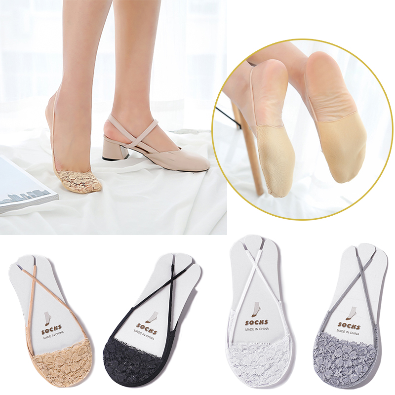 No Show Invisible Sling Socks Antiskid Liner Half Feet Hosiery Fashion Women Sexy Lace Beathable Non-Slip High heels Boat Sock(China)