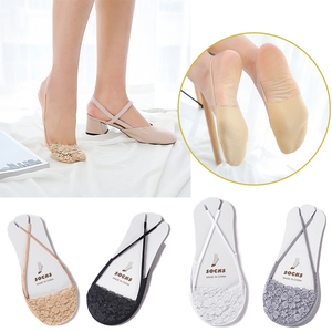 No Show Invisible Sling Socks Antiskid Liner Half Feet Hosiery Fashion Women Sexy Lace Beathable Non-Slip High heels Boat Sock
