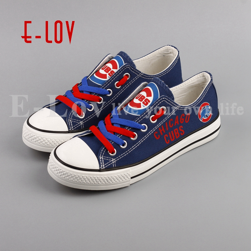 2018 E-LOV Fashion Print Canvas Shoes Chicago Low Top Color Lace Shoes Fans Customization Blue Shoes Gift e lov women casual walking shoes graffiti aries horoscope canvas shoe low top flat oxford shoes for couples lovers