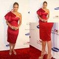 Envío Gratis Otoño Invierno Uno Volantes Hombro Mediados de-Becerro Elegante Jennifer Lopez Alfombra Roja Vestidos de La Celebridad Vestidos