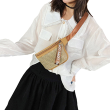 RXZHGH The new womans Waist pack Straw bag fashion Travel Single shoulder bag Fanny pack Summer Beach Crossbody bag Small Chest