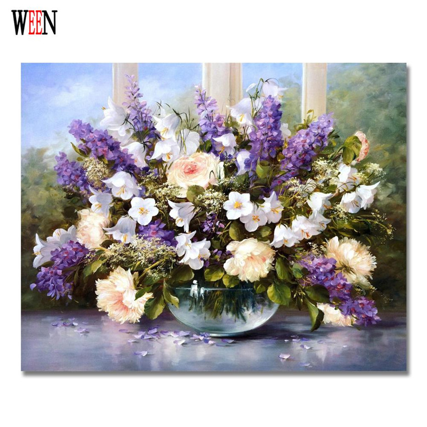 free shipping decorative giclee print purple Flower Canvas Prints Classical Oil Painting Picture Printed On 40x50cm