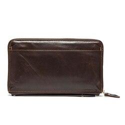 W stylu Vintage mężczyźni długo portfel mężczyźni prawdziwej skóry sprzęgło portfele portmonetki pierwsza warstwa prawdziwej skóry