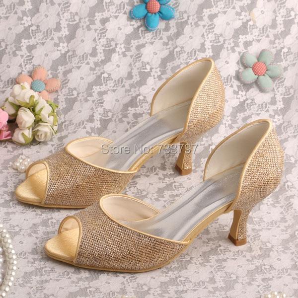 ФОТО Wedopus MW425 Women Peep Toe Gold Glitter Party Shoes Evening Pumps Mid Heel