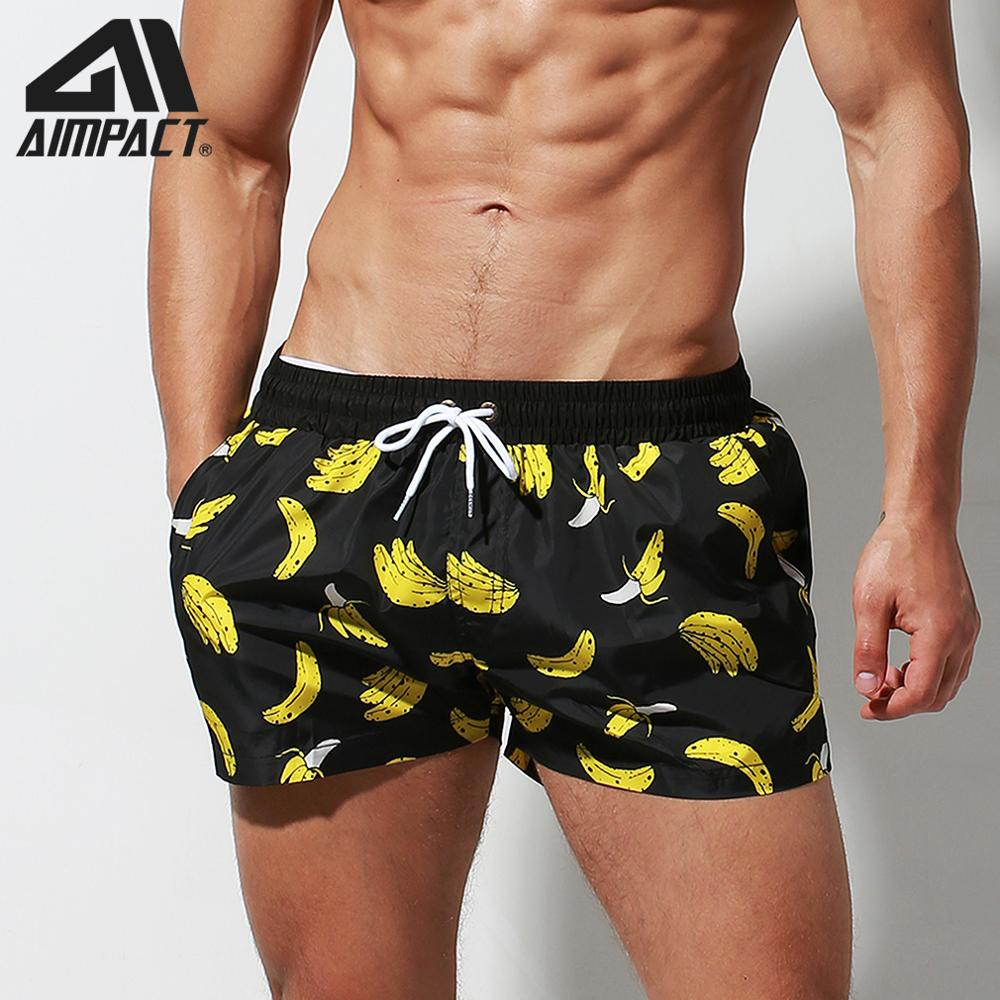 Aimpact Fast Dry Board Shorts For Men Banana Printing Sexy Swim Trunks Holiday Surf Beachwear Waterwear Hybird Shorts DT95