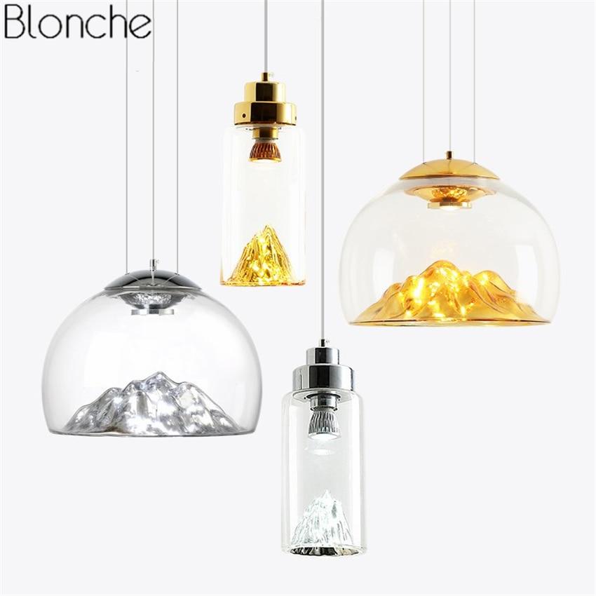 Nordic Gold Silver Iceberg Glass Pendant Lights Modern Hanglamp Led Hanging Lamp Home Kitchen Light Fixtures Luminaire Decor