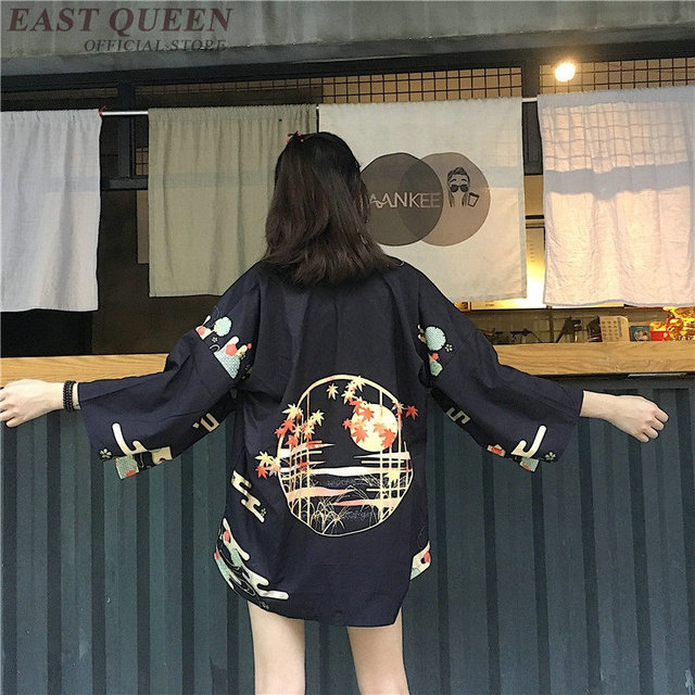 קימונו אישה 2019 יפני קימונו קרדיגן קוספליי חולצה חולצה לנשים יפני יאקאטה נשי קיץ חוף קימונו FF1127