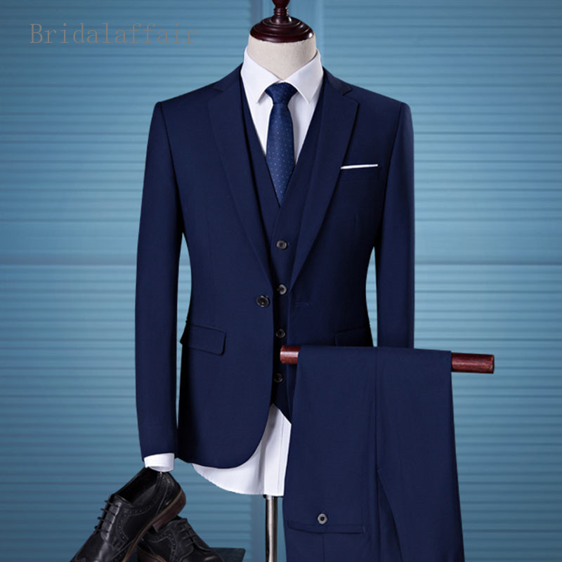 Bridalaffair Men Suits Navy Blue Mens Wedding Suits Set Formal ...