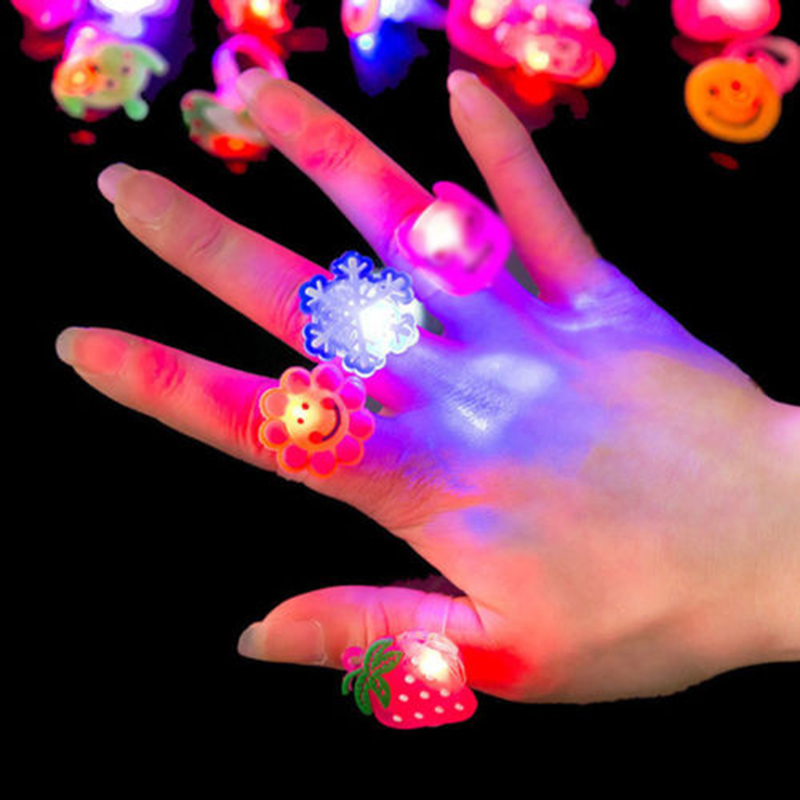 Glow Luminous Novelty Flashing Finger Ring LED Light Party Favor Fun Toy Gifts