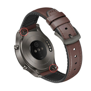 Image 4 - Watchband 22mm Silicone + Leather 2in 1 Strap Fashion Mens Replacement Wristband For Huawei watch Pro/GT Quick release