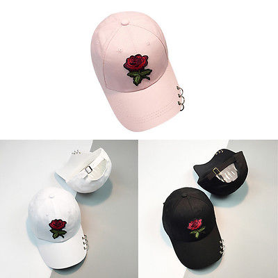 Casual Women Summer Baseball Cap Flower Embroidery Hat Cap Pink Black White Colors Snapback Hats