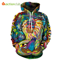 ACTIONCLUB 2017 Spring New Fashion Mens Hoodies And Sweatshirts 3D Print Colors Monkey  Coats HipHop Coats Casual Sportswear